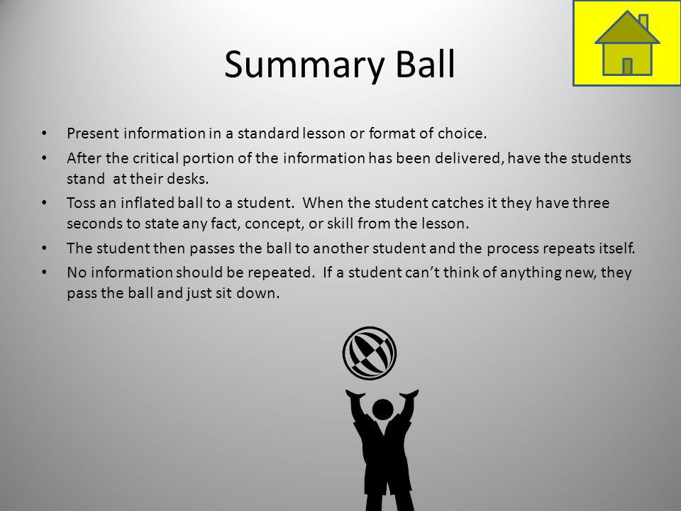 Summary BallPresent information in a standard lesson or format of choice.