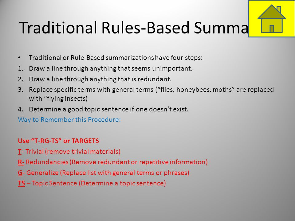 Traditional Rules-Based Summaries