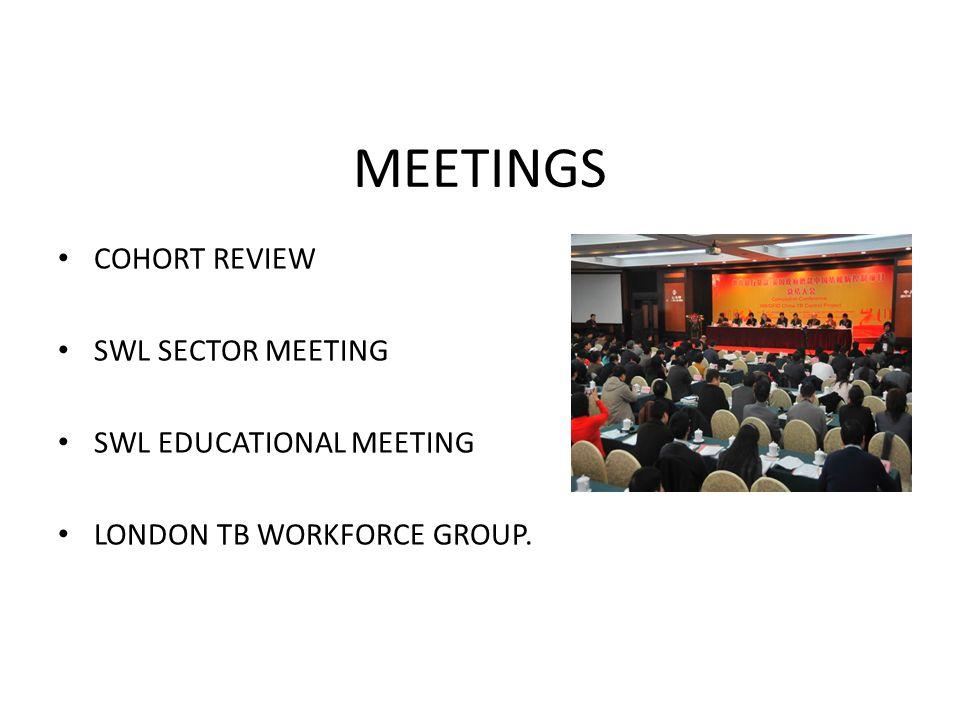 MEETINGS COHORT REVIEW SWL SECTOR MEETING SWL EDUCATIONAL MEETING