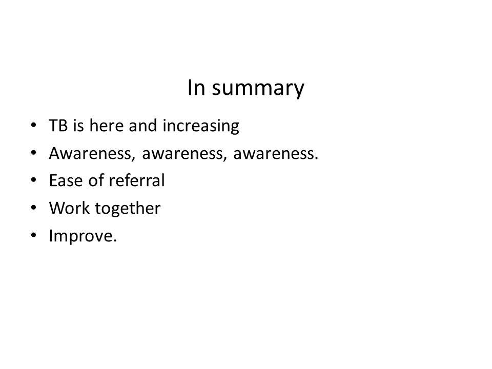 In summary TB is here and increasing Awareness, awareness, awareness.