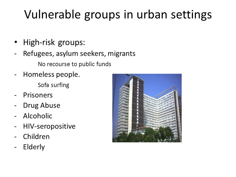 Vulnerable groups in urban settings