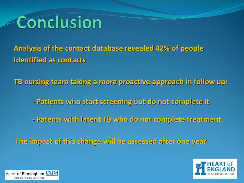 Conclusion Analysis of the contact database revealed 42% of people