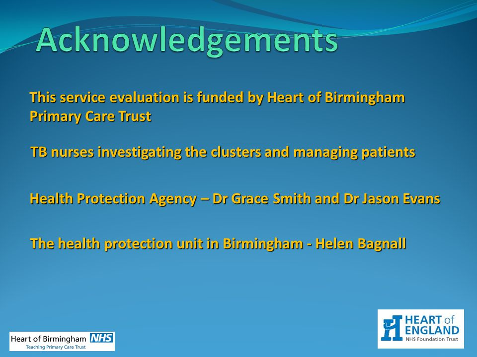 Acknowledgements This service evaluation is funded by Heart of Birmingham Primary Care Trust.