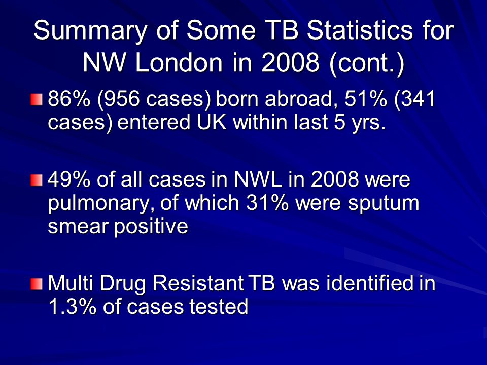 Summary of Some TB Statistics for NW London in 2008 (cont.)