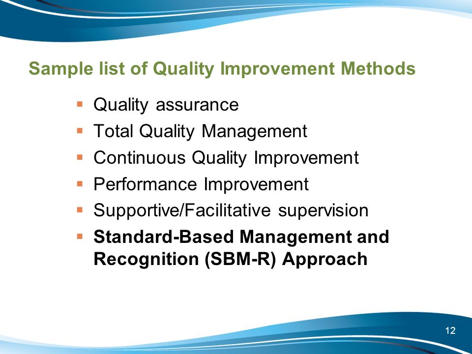 Sample list of Quality Improvement Methods