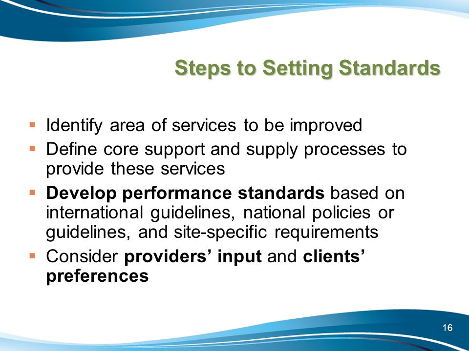 Steps to Setting Standards