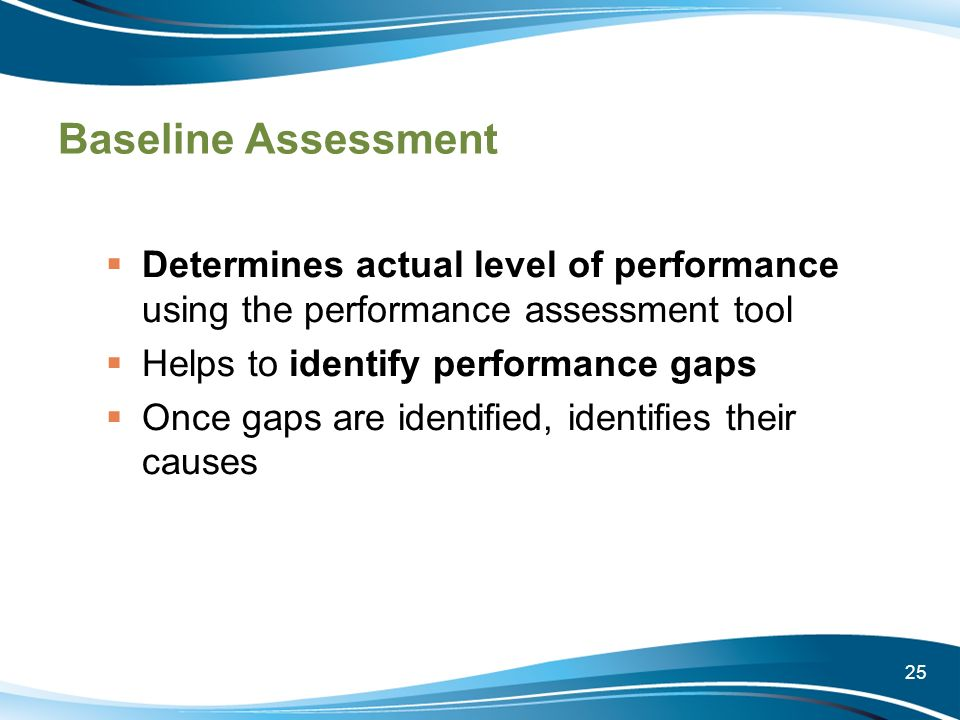 Baseline Assessment Determines actual level of performance using the performance assessment tool. Helps to identify performance gaps.