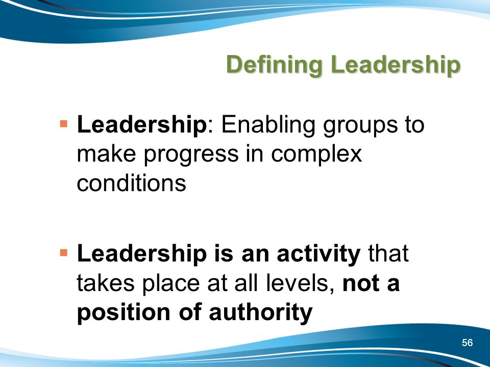 Leadership: Enabling groups to make progress in complex conditions