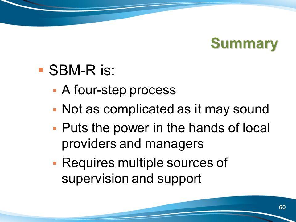 Summary SBM-R is: A four-step process