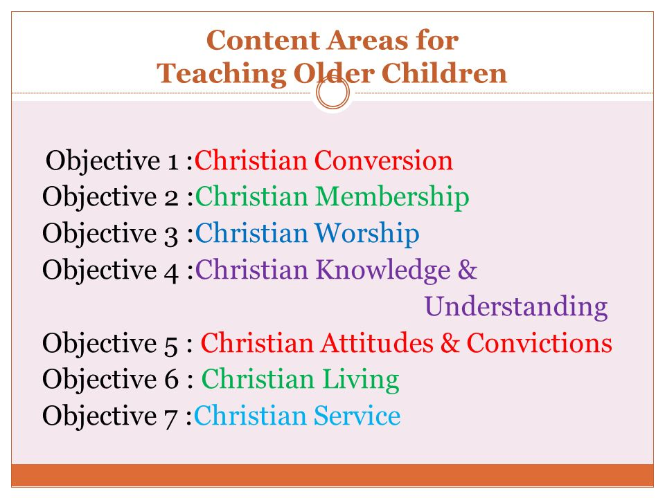 Content Areas for Teaching Older Children