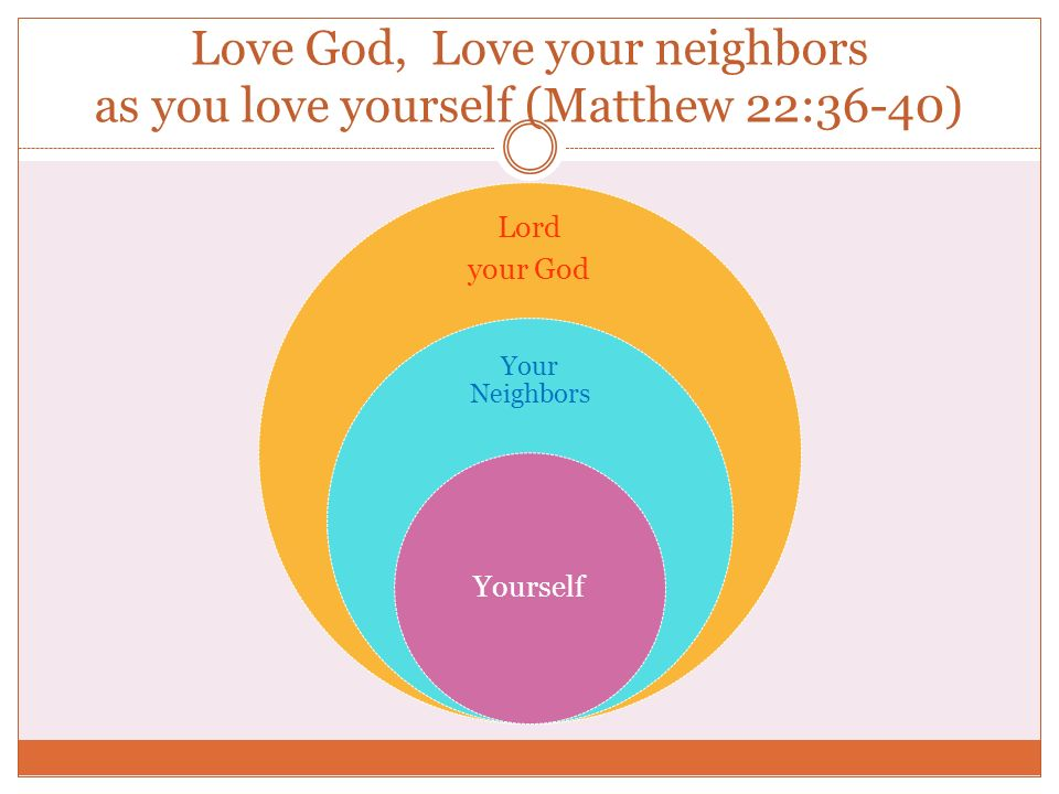 Love God, Love your neighbors as you love yourself (Matthew 22:36-40)
