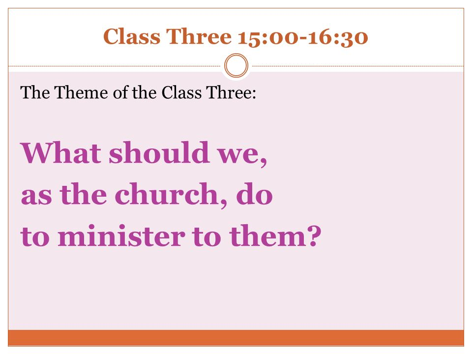 What should we, as the church, do to minister to them