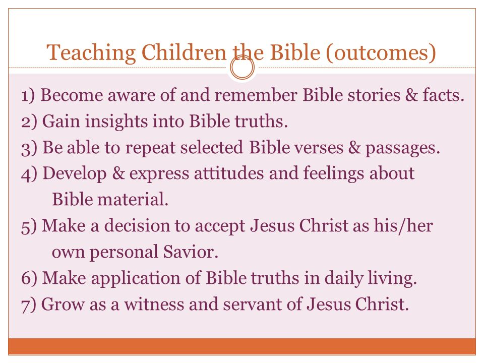 Teaching Children the Bible (outcomes)