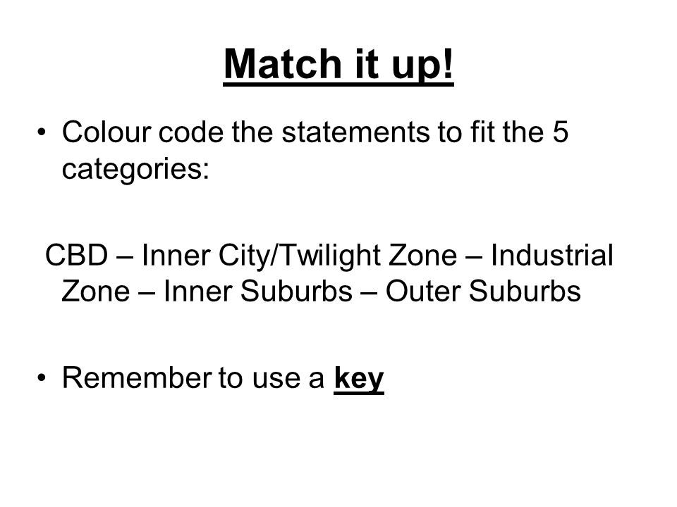 Match it up! Colour code the statements to fit the 5 categories:
