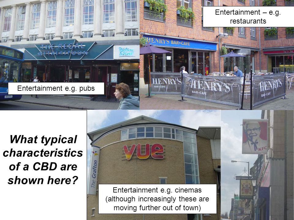What typical characteristics of a CBD are shown here