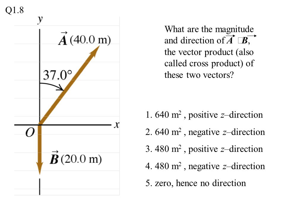 Q1.8 What are the magnitude and direction of A ´B, the vector product (also called cross product) of these two vectors