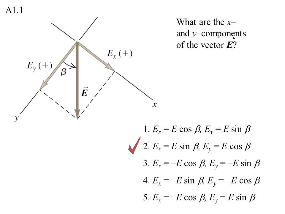 A1.1 What are the x– and y–components of the vector E 1. Ex = E cos b, Ey = E sin b. 2. Ex = E sin b, Ey = E cos b.