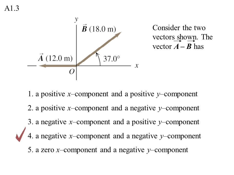 A1.3 Consider the two vectors shown. The vector A – B has. 1. a positive x–component and a positive y–component.