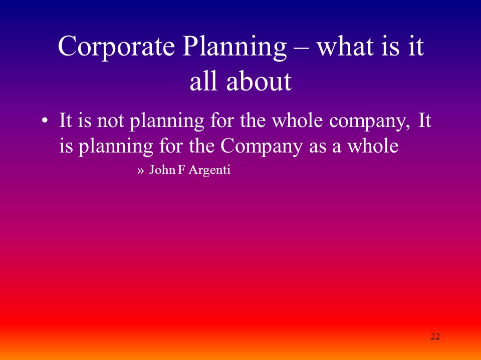 Corporate Planning – what is it all about