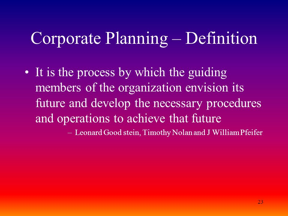 Corporate Planning – Definition