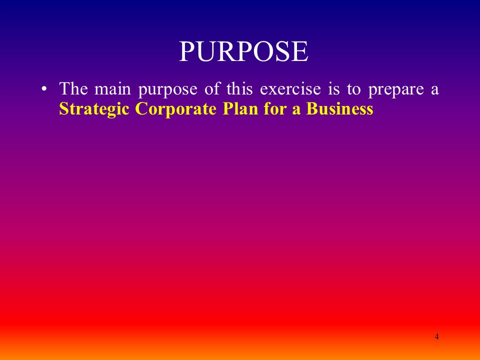 PURPOSE The main purpose of this exercise is to prepare a Strategic Corporate Plan for a Business