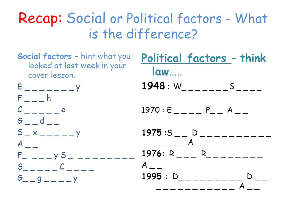 Recap: Social or Political factors - What is the difference
