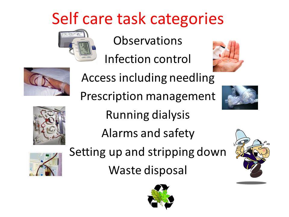 Self care task categories