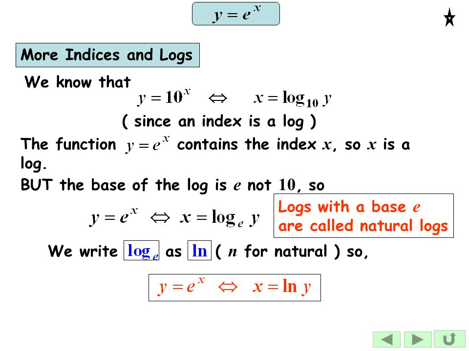 More Indices and Logs We know that. ( since an index is a log ) The function contains the index x, so x is a log.