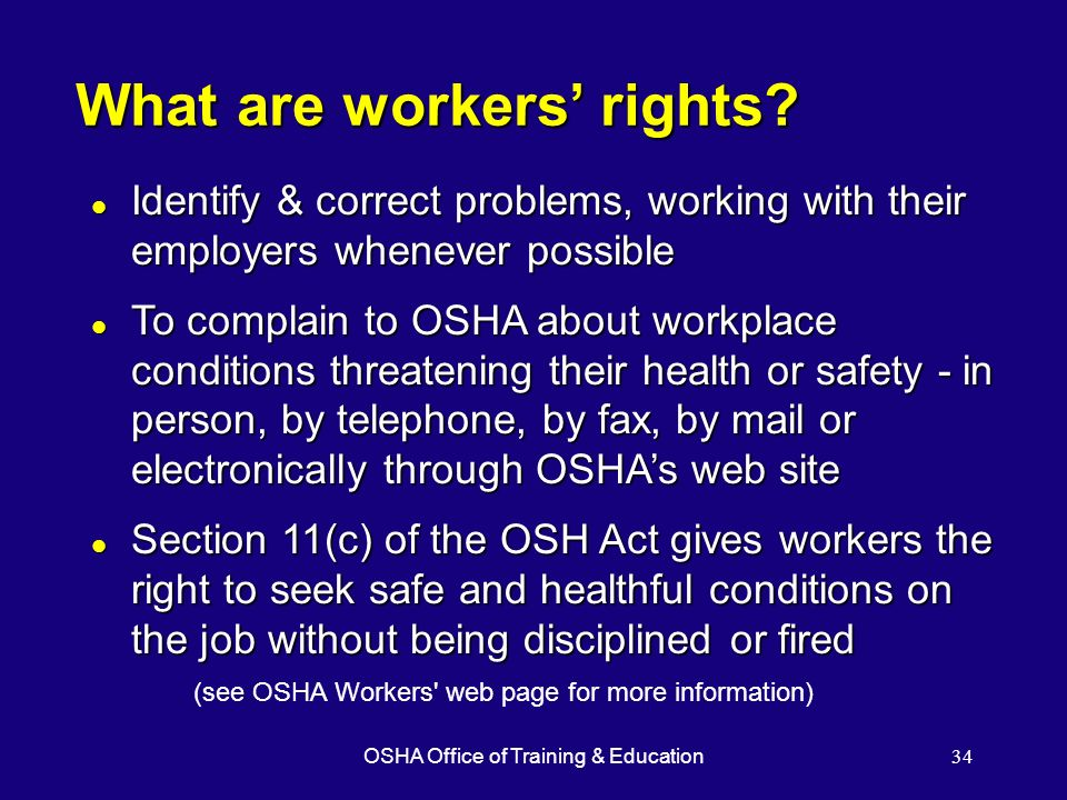 OSHA Office of Training & Education