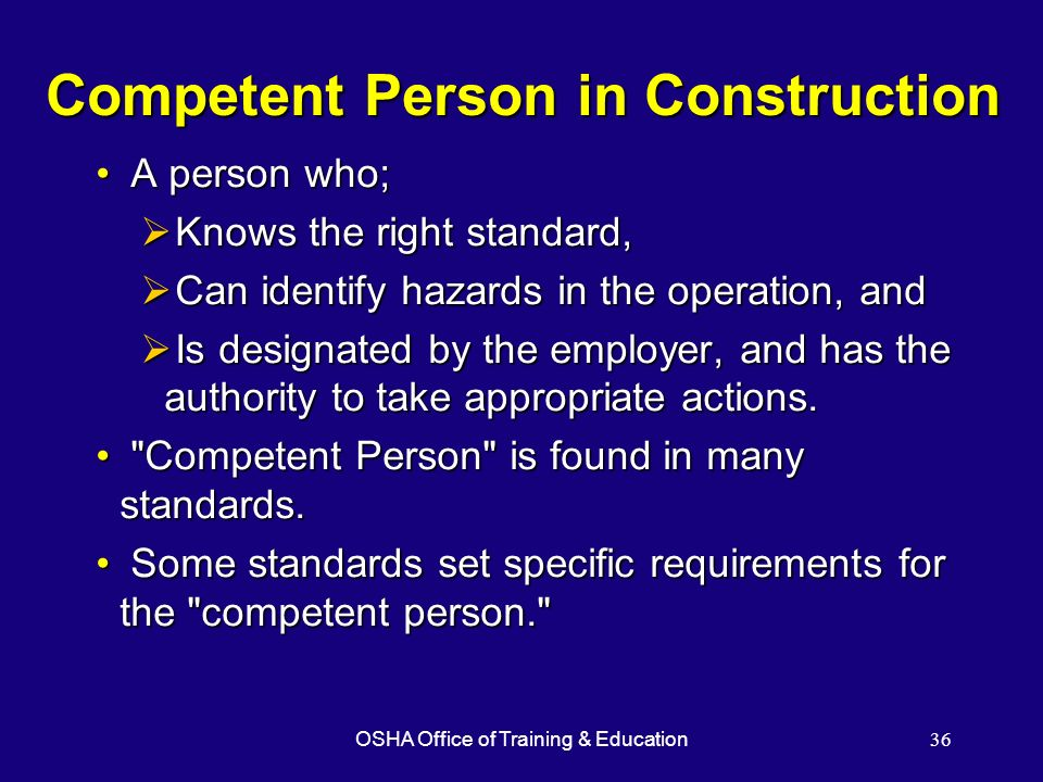 Competent Person in Construction