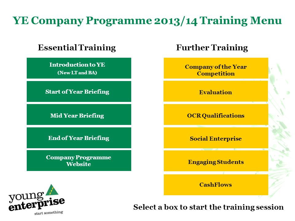 YE Company Programme 2013/14 Training Menu