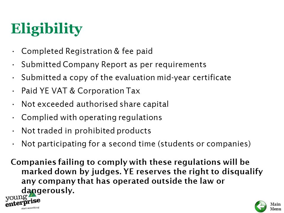 Eligibility Completed Registration & fee paid