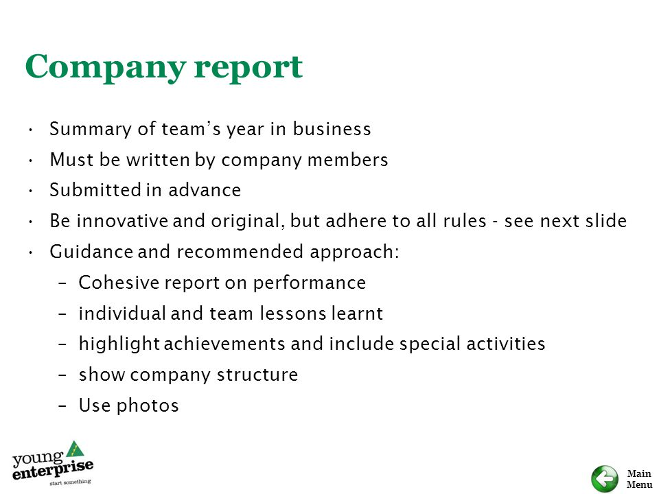 Company report Summary of team's year in business