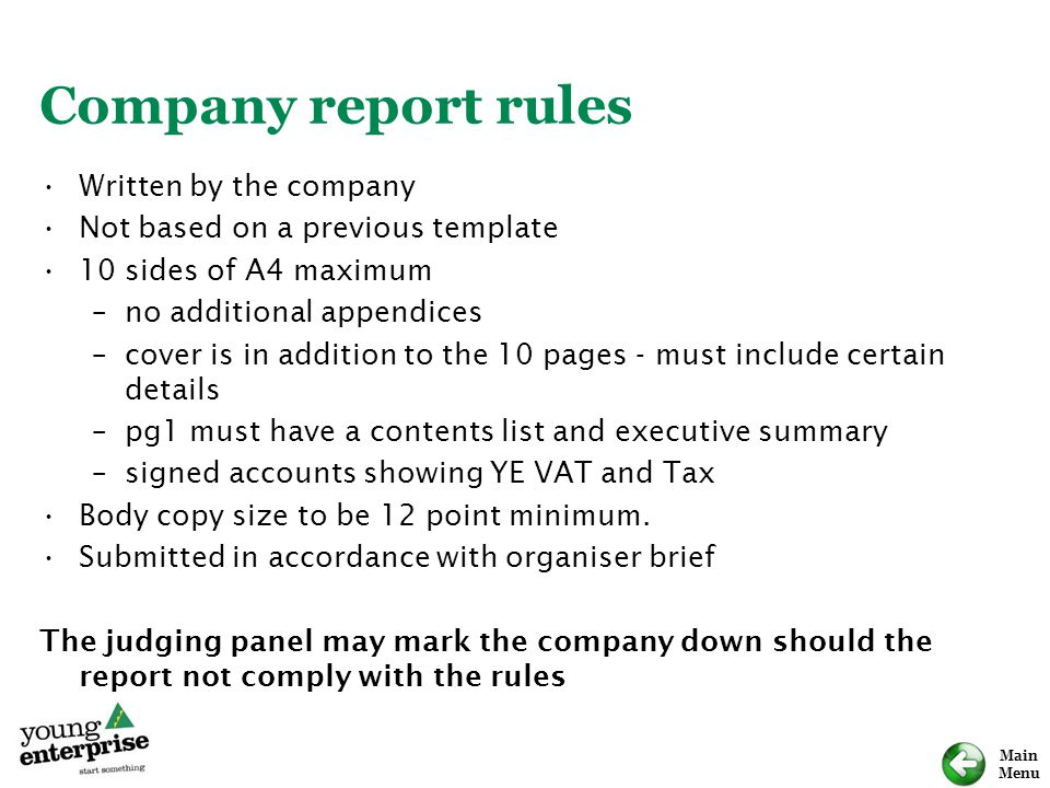 Company report rules Written by the company