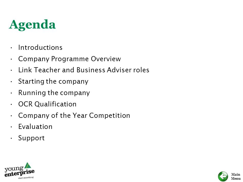 Agenda Introductions Company Programme Overview