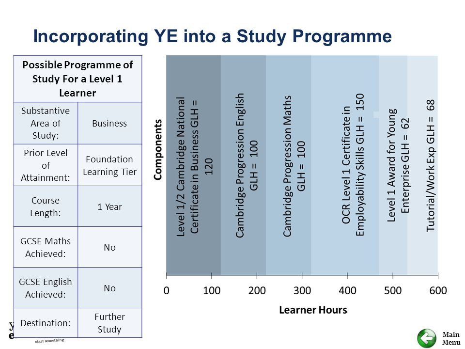 Possible Programme of Study For a Level 1 Learner