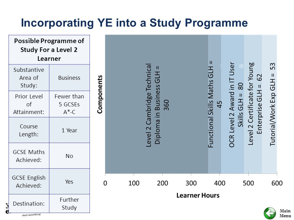 Possible Programme of Study For a Level 2 Learner