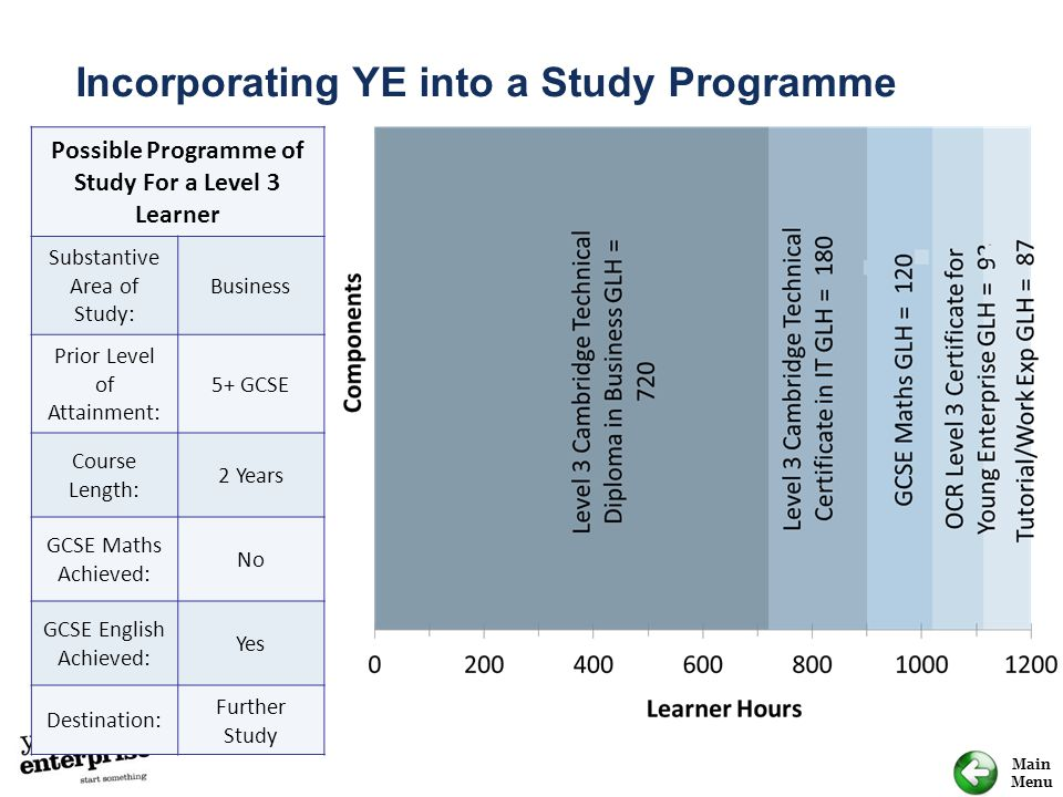 Possible Programme of Study For a Level 3 Learner
