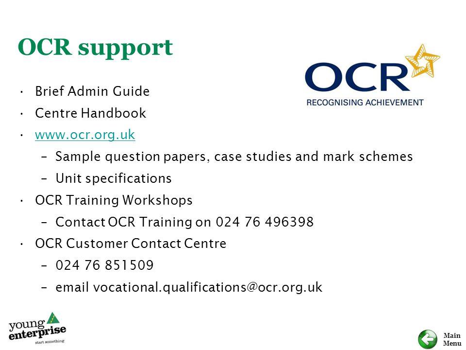 OCR support Brief Admin Guide Centre Handbook www.ocr.org.uk