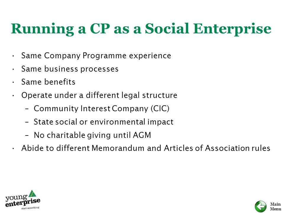 Running a CP as a Social Enterprise