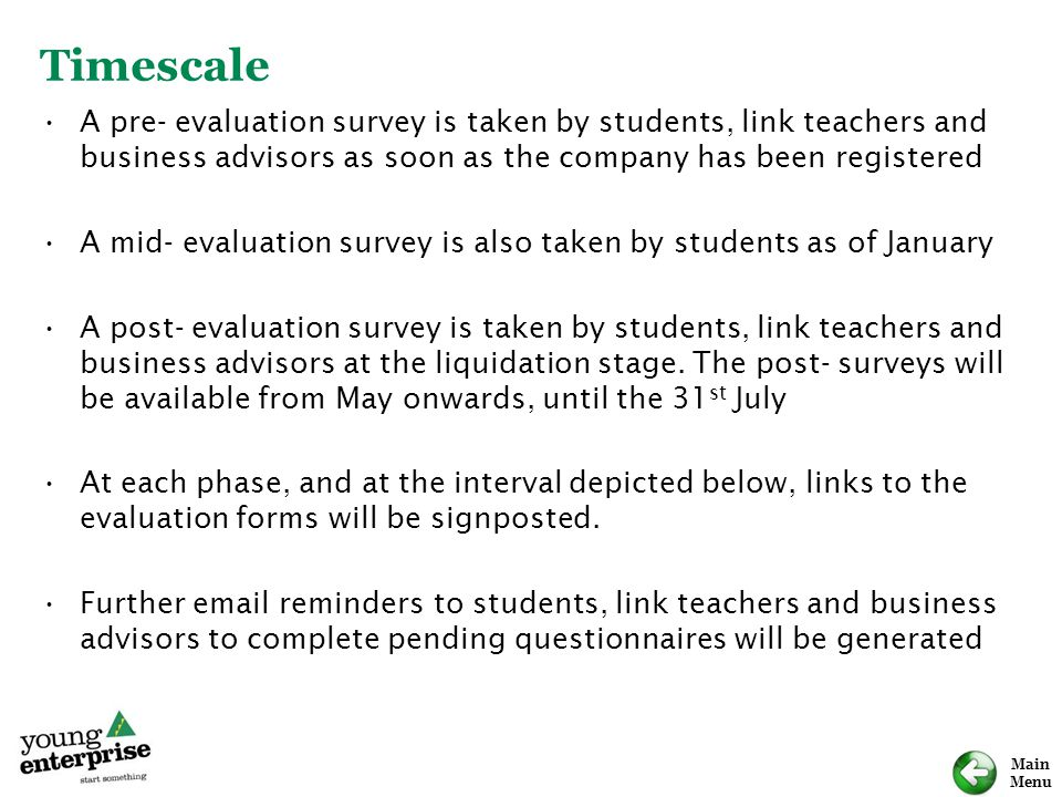 Timescale A pre- evaluation survey is taken by students, link teachers and business advisors as soon as the company has been registered.