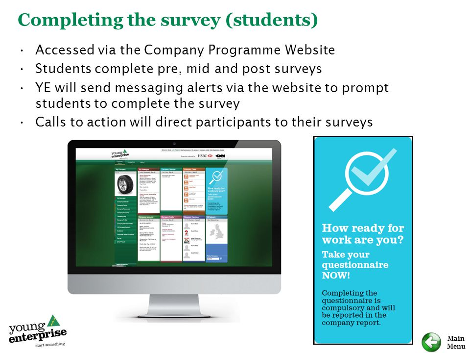 Completing the survey (students)