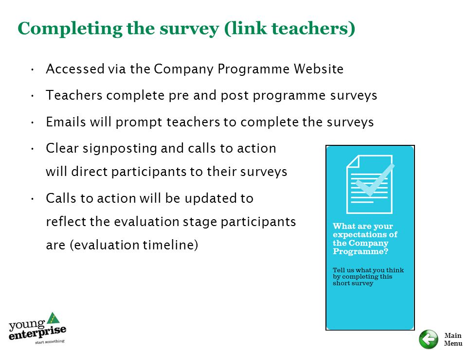 Completing the survey (link teachers)