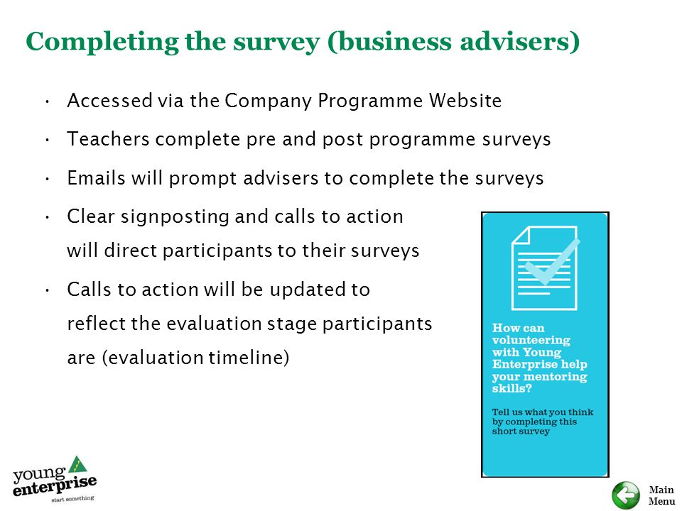 Completing the survey (business advisers)