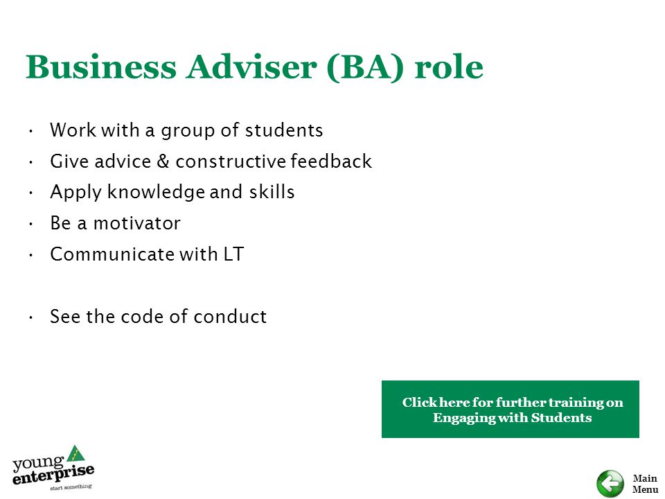 Business Adviser (BA) role