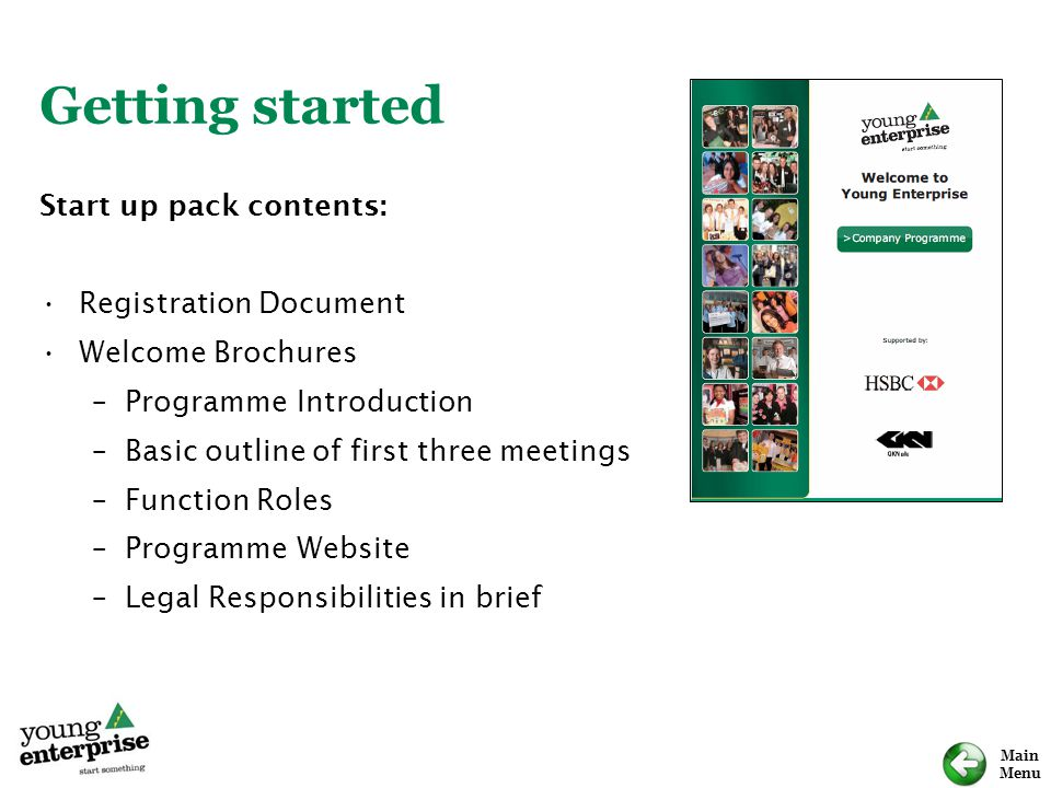 Getting started Start up pack contents: Registration Document