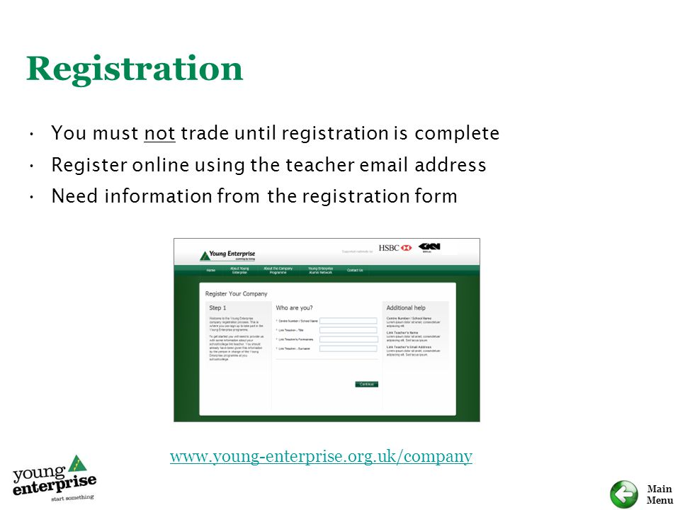 Registration You must not trade until registration is complete