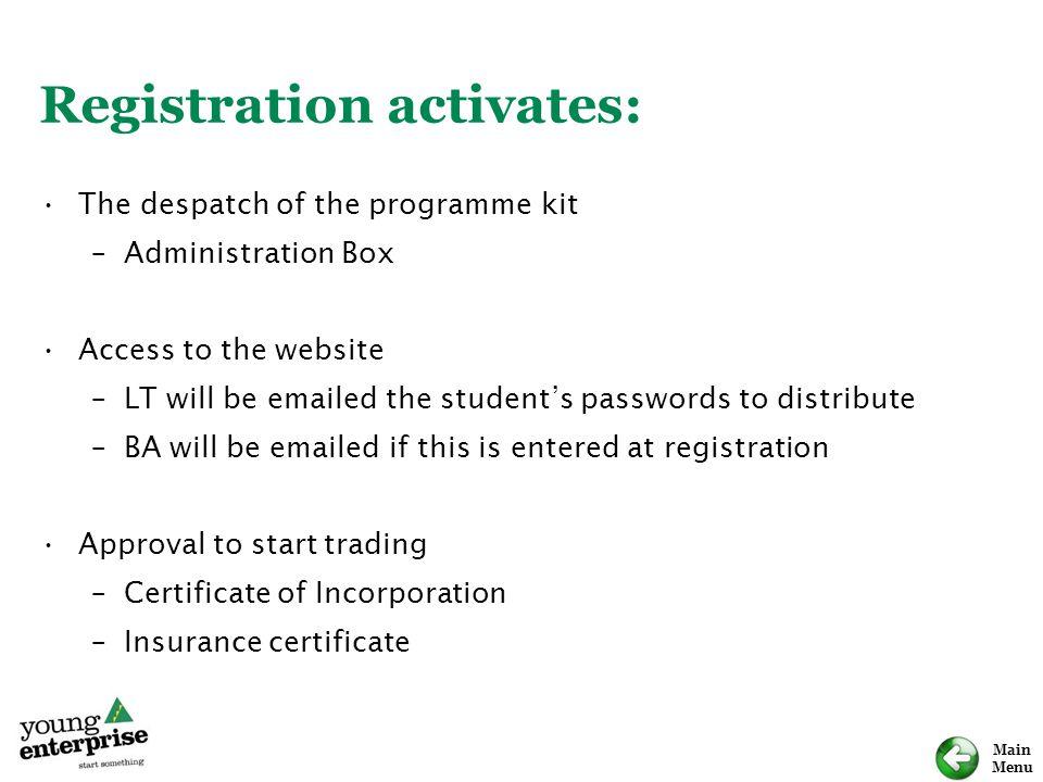 Registration activates: