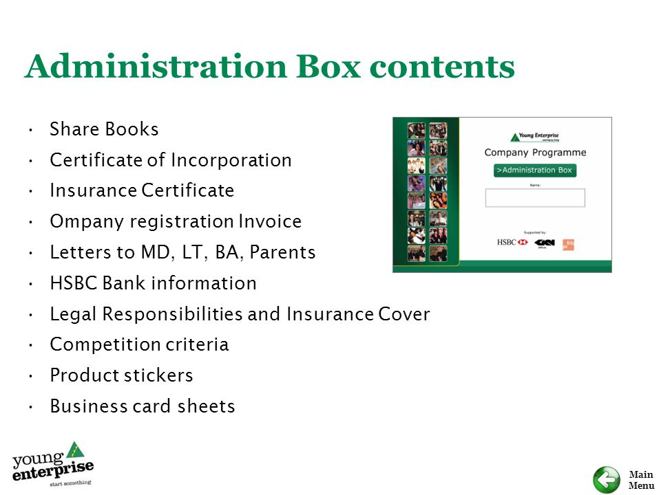 Administration Box contents