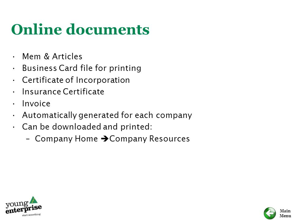 Online documents Mem & Articles Business Card file for printing